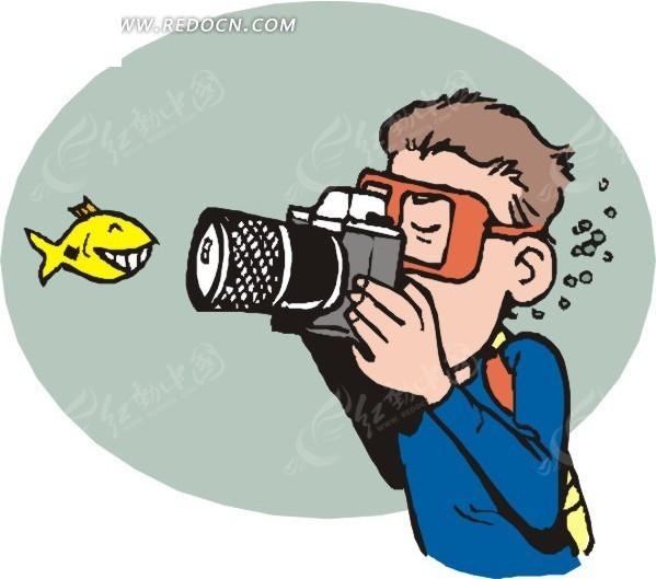 黄色鱼 拍照 潜水员 卡通画 手绘 插画 矢量素材  生活百科