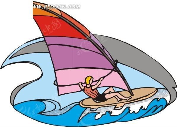 儿童手绘帆板冲浪