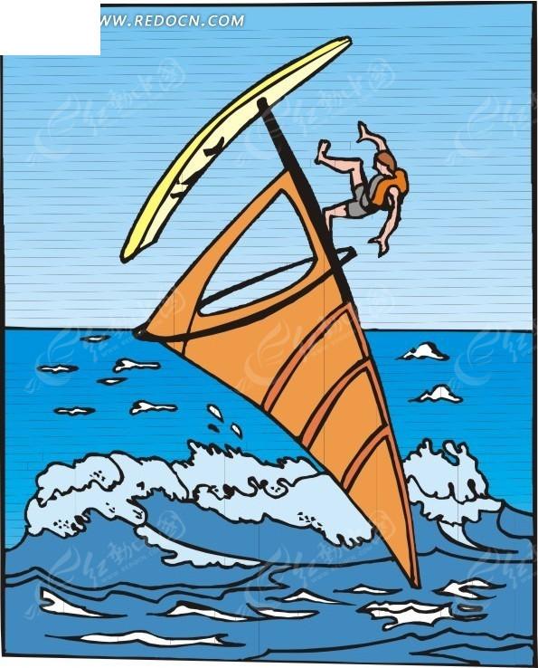 儿童手绘海上帆板冲浪eps免费下载_体育运动素材