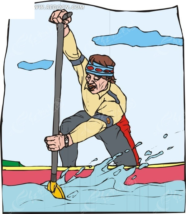 单人皮划艇手绘素材