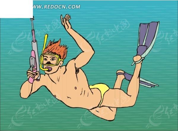 手绘潜水的男人