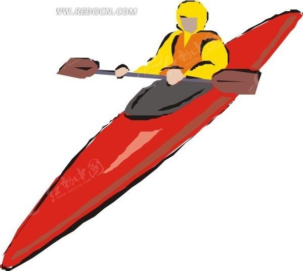 手绘划红色单人皮划艇的人lol空手道凯南可以买吗图片
