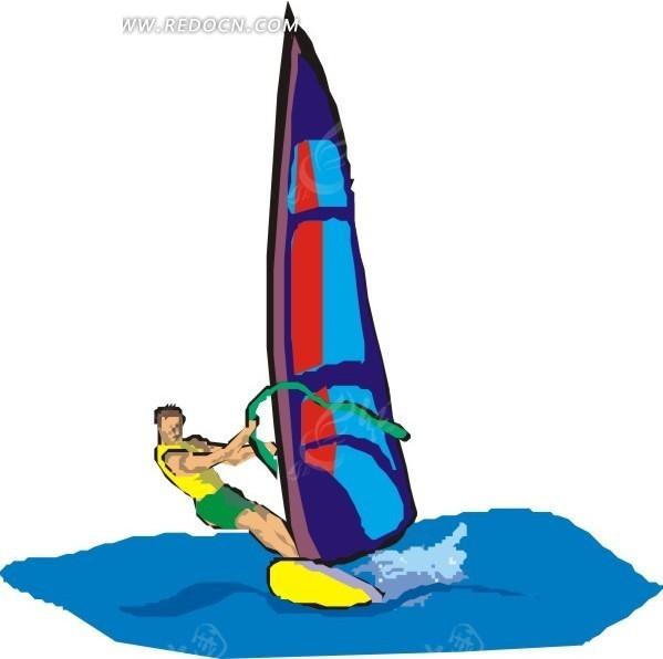 手绘插画帆板冲浪的黄衣男人矢量图_体育运动