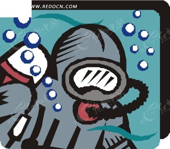 手绘插画水面下的潜水员
