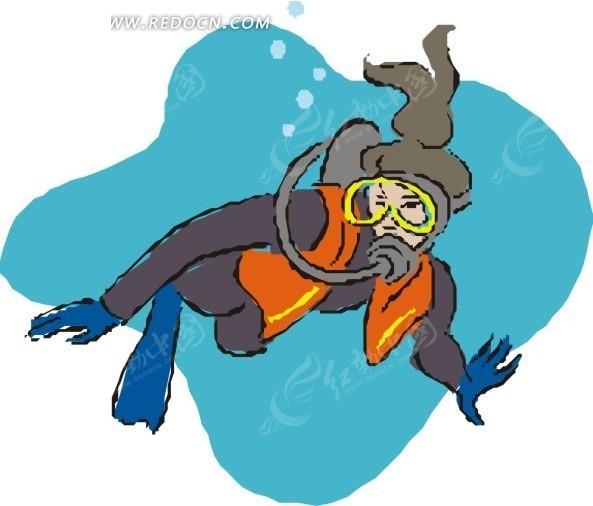 卡通画 潜水 插画 手绘 矢量素材 人物图片 卡通形象  生活百科
