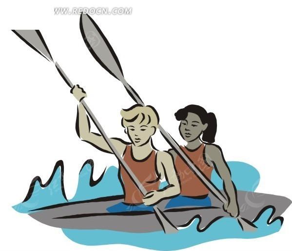 卡通画 船 划船 插画 手绘 矢量素材 人物图片 卡通形象  生活百科