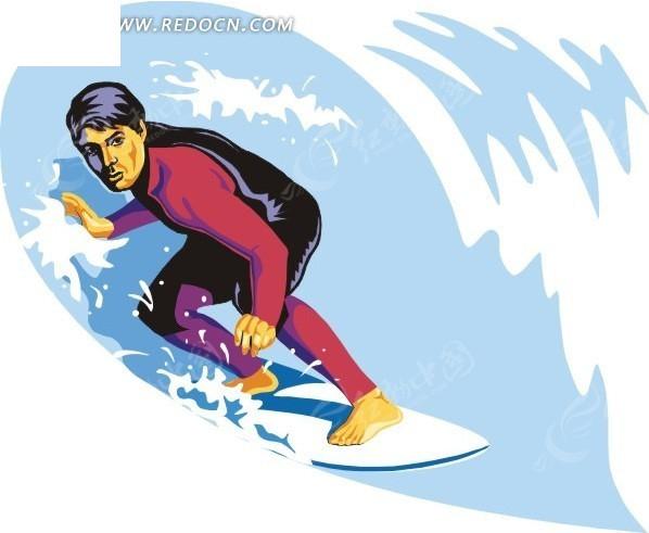 手绘蓝色浪花和游泳的人_体育运动_红动手机版