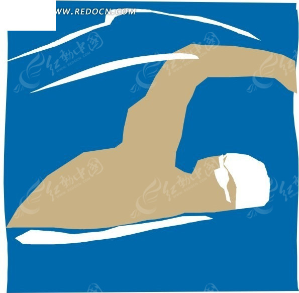 手绘插画游泳的人