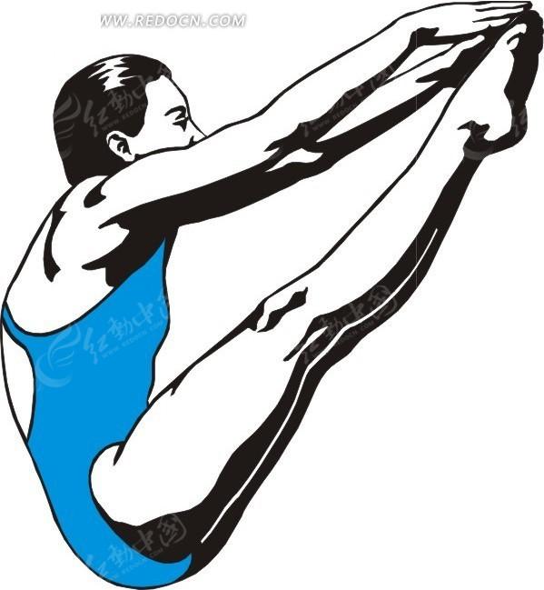 手绘一个跳水运动员优美的动作