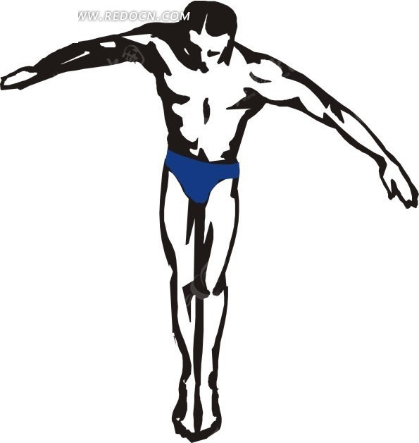 手绘简单的跳水人物插画