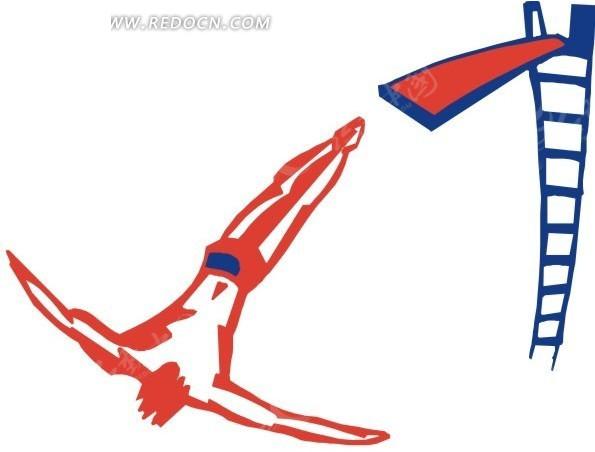 手绘红色的跳水人物