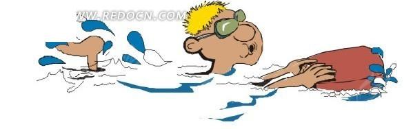手绘学习游泳的人