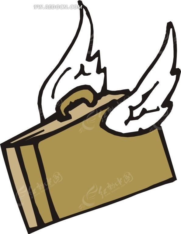手绘长翅膀的棕色包