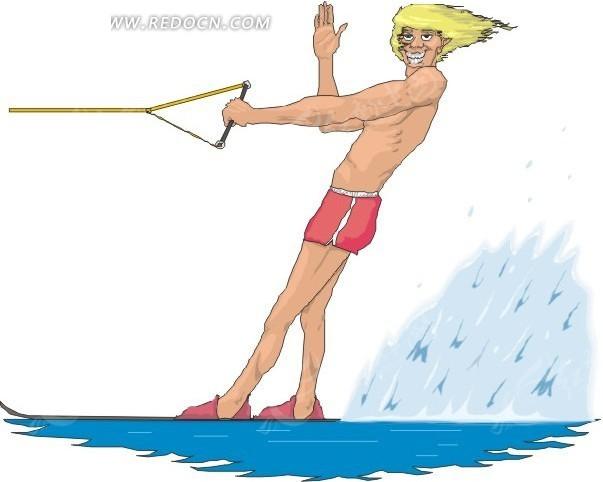 快艇冲浪的帅哥手绘素材
