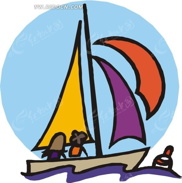儿童手绘水上的小帆船