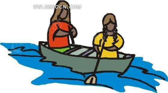 水上划小船的人手绘素材