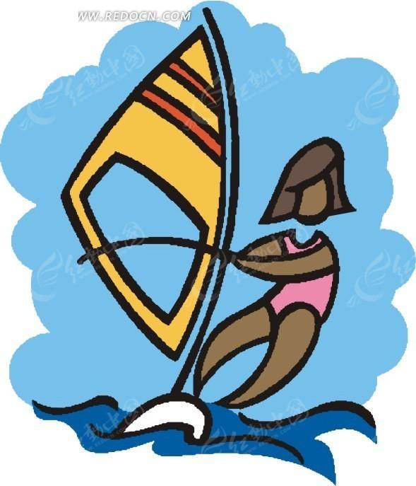 儿童手绘享受海上冲浪的女人矢量图_体育运动