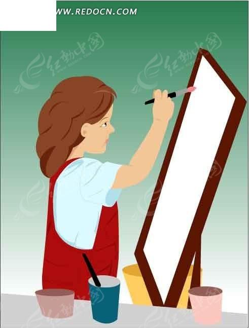 在画板上画画的卡通人物矢量图