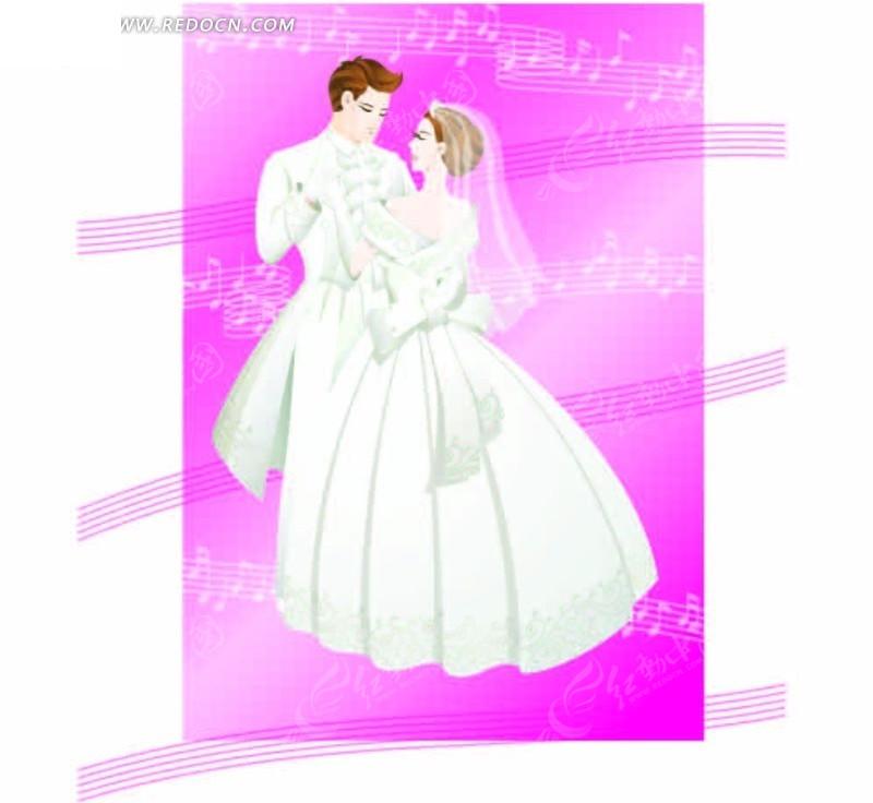 穿着婚纱跳舞的卡通情侣