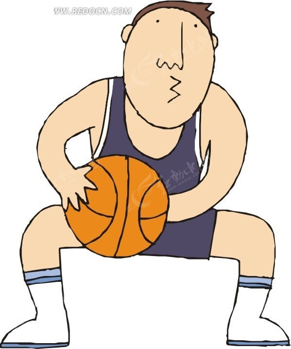 手绘穿紫色背心打篮球的人矢量图 体育运动