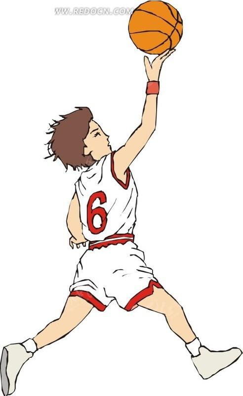 手绘打篮球的男人