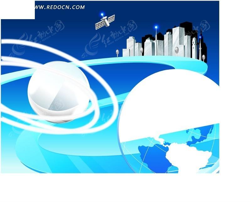 手绘 玻璃行星 星球 轨道 城市 卫星 高楼 商务图片 矢量素材