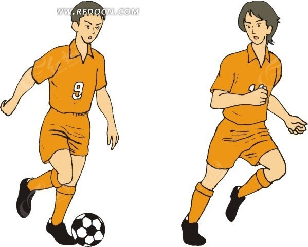 手绘两个足球运动员矢量图