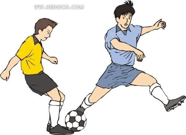 卡通小学生踢