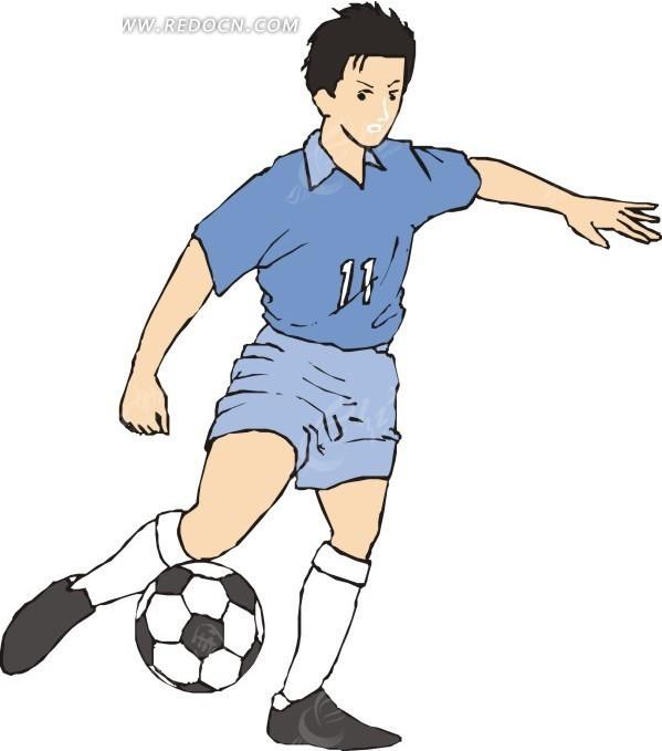 手绘踢足球的男人
