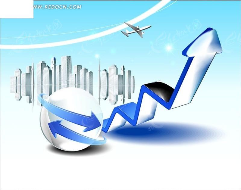 航空交通发展立体图标矢量素材-现代商务-;