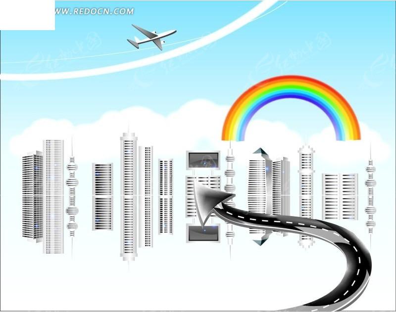 高楼大厦卡通画_彩虹下的高楼大厦和箭头卡通画