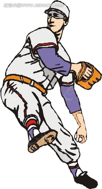 棒垒球运动的卡通人物