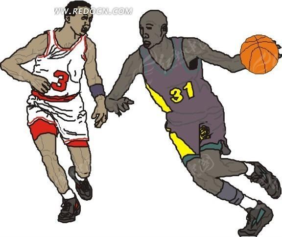 篮球对抗练习矢量图_体育运动