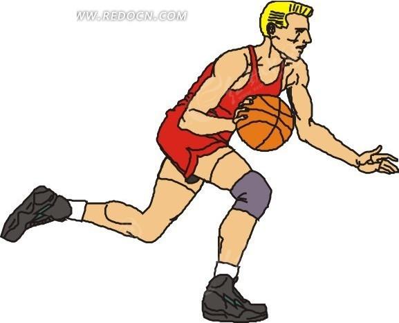 手绘运球的篮球运动员