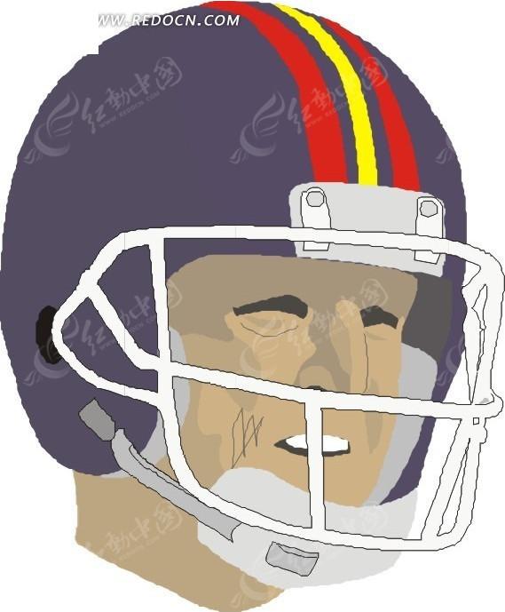 戴橄榄球头盔的人物头像