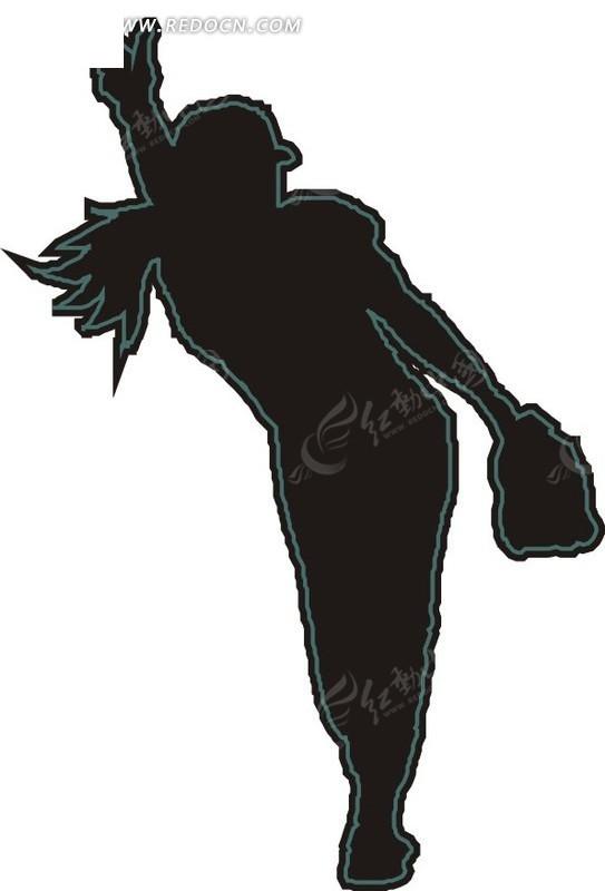 免费矢量剪影素材生活百科体育运动戴着美女田径的素材垒球请您达军手套图片
