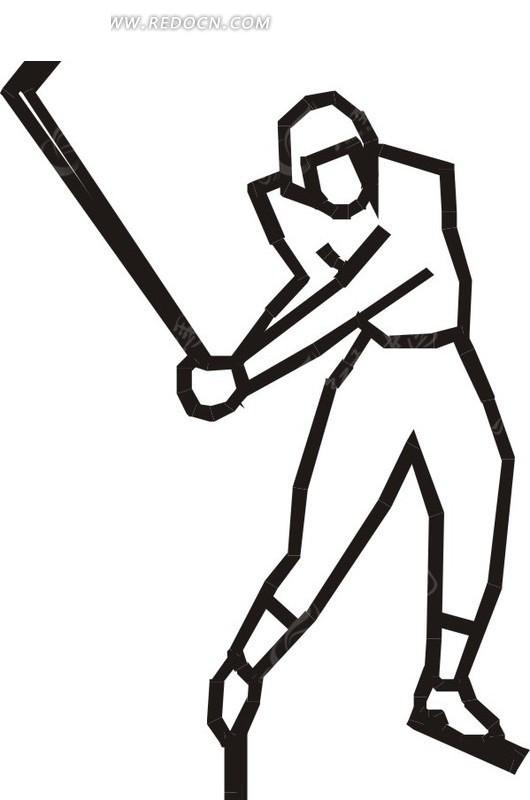 线描击打冰球矢量图eps免费下载_体育运动素材