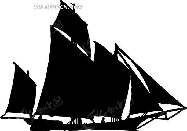 帆船剪影图片