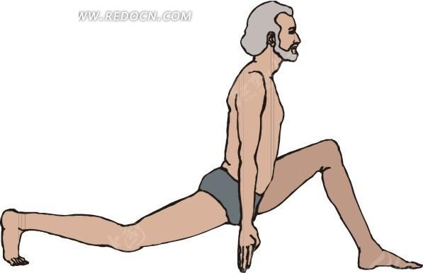 手绘做瑜伽的灰头发的男人图片