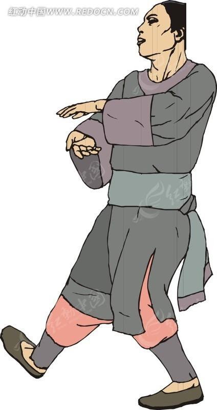 手绘练武的古代男子