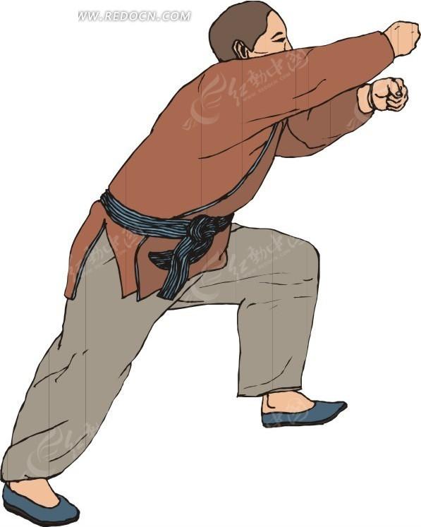 手绘穿朱红色衣服打拳的男人