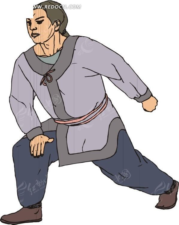 手绘做弓步练武的男人矢量图