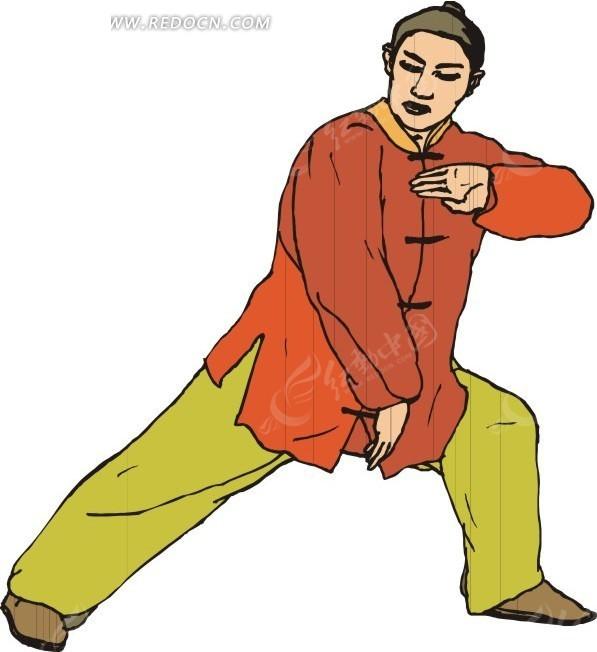 手绘打拳的男人