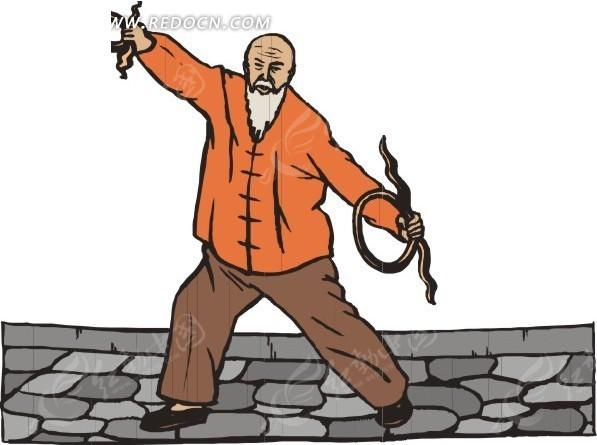 手绘练习武术的老人