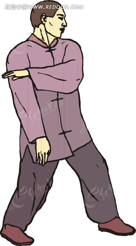 手绘穿紫色衣服练武的人