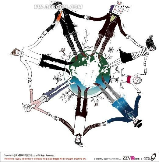 圆圈 地球 手牵手 手绘 绘画 卡通 矢量素材 男人 女人  人物素材