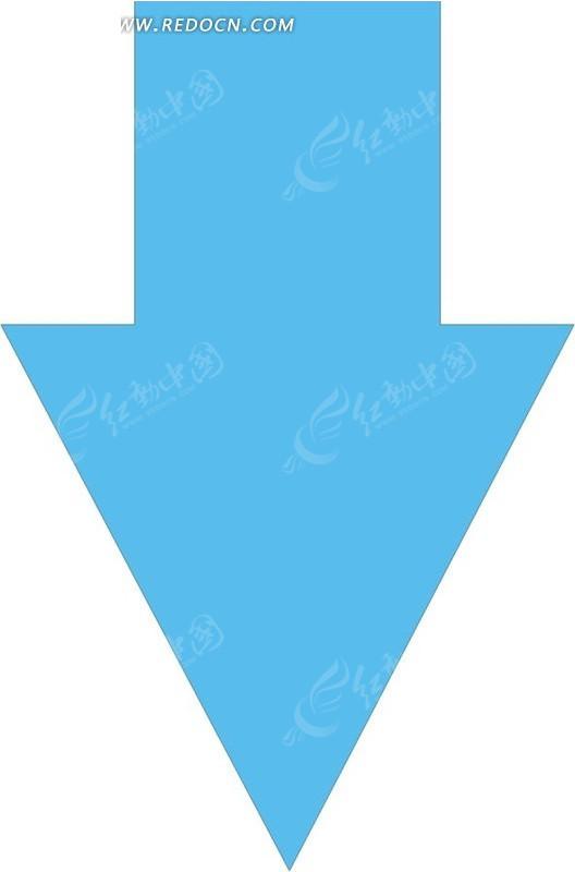 一个向下蓝色箭头