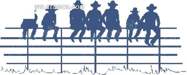 坐在栏杆上的人物剪影