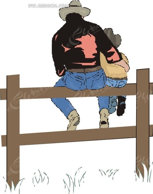 坐在木栏杆上的父子背影矢量图 老年人物