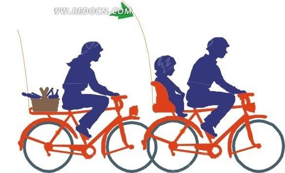 一家三口骑单车插画